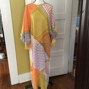 vintage Maxi Dress Dolman Ruffle Patchwork Design